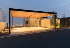木目調が美しいナチュラルなカーポート   タカショー施工事例紹介 Aluminum Pergola, Carport Designs, Carport Garage, Parking Design, Steel Structure, Lighting Design, Small Spaces, Porch, Exterior