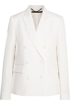 If there's one thing Stella McCartney knows best, it's tailoring - she began her career working on Savile Row. Precisely cut from ivory wool-twill, this double-breasted blazer has elegant lapels, two neat pockets, gently padded shoulders and a nipped-in waist for flattering definition. The satin lining ensures the smoothest fit.