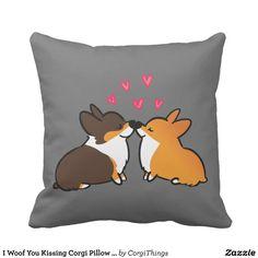 I Woof You Kissing Corgi Pillow | CorgiThings