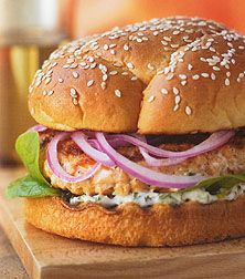 salmon burgers with cilantro mayo
