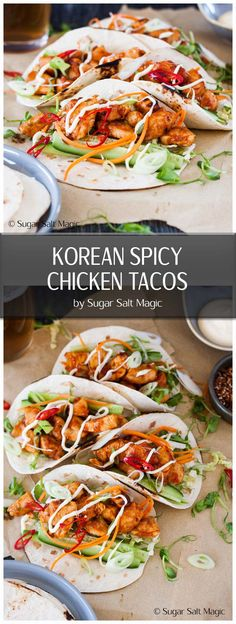 Spicy Korean Chicken Tacos Korean Spicy Chicken Tacos - Punchy Korean flavours combine to make these Korean Spicy Chicken Tacos an easy weeknight dinner for your family or a great party dish. Chicken Taco Recipes, Spicy Recipes, Asian Recipes, Mexican Food Recipes, Dinner Recipes, Cooking Recipes, Healthy Recipes, Baked Chicken Tacos, Asian Desserts