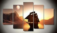 HD Printed Sunset Sailing Oil Painting On The Wall Pictures For Living Room Home Decor Modular Pictures 5 Pcs Cuadros Decoracion Living Room Pictures, Wall Art Pictures, Home Pictures, Rooms Home Decor, Living Room Decor, Panel Art, Picture Wall, Canvas Wall Art, Table Lamp