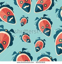 Hipster love and relationships mask flat icon seamless pattern. #vectorpattern #patterndesign #seamlesspattern