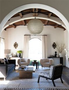 Beverly Hills Living Room by DISC Interiors, Spanish Revival home updated. My Living Room, Living Room Interior, Living Room Decor, Living Spaces, High Ceiling Living Room, Interior Livingroom, Spanish Style Homes, Spanish House, Spanish Colonial Kitchen