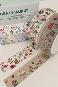 2 Rolls Washi Adhesive Tape Decorative Kawaii - Crazy Rabbit Forest Woodland Toadstool Rabbit Flowers