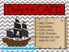 Daily 5 Center Posters and CAFE Signs and Strategies. Daily 5 Organization, Organizing, Pirate Decor, Pirate Theme, Elementary Classroom Themes, Classroom Ideas, Daily 5 Posters, Cafe Posters, Cafe Sign