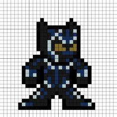 Black Panther (Blue glowing suit) Avengers Infinity War Perler Bead Melty Bead Designs, Melty Bead Patterns, Pearler Bead Patterns, Perler Patterns, Beading Patterns, Image Pixel Art, Cool Pixel Art, Perler Bead Art, Perler Beads