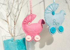 Personalized wool Felt Pram Baby girl or boy by PrettyFeltThings, $10.00