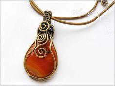 Orange carnelian and bronze wire wrapped pendant, OOAK. $60.00, via Etsy.