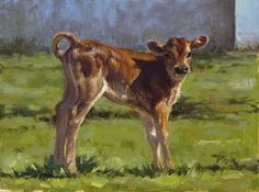 Jersey Calf painting by carol peek Oil ~ 6 x 8 Cow Painting, Painting & Drawing, Miniature Cow Breeds, Miniature Cows, Cow Art, Watercolor Animals, Watercolour, Realistic Drawings, Artist