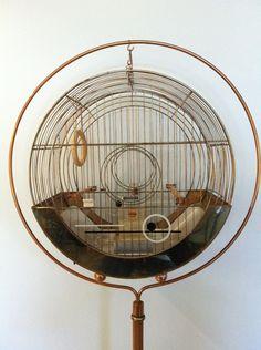Vintage Hendryx Art Deco Brass Copper Hat Box Bird Cage w Stand | eBay