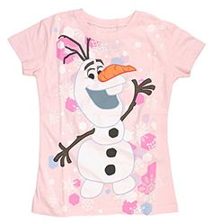 Disney Frozen Olaf Snow Girls Pink TShirt  XS >>> Click image to review more details.