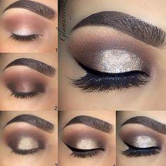 Beautiful glitter cut crease withConfetti by @makeupbyglamureyesz @makeupbyglamureyesz