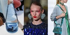 Trend Finder: Iridescent and holographic finishes add a shimmery element to S/S 17 accessories. From small leather goods to jewelry and handbags, soft pastels as well as bold purples and blues are finished with a mirrored, high shine or metallic top coat all creating a fresh update to the seasons must have items.
