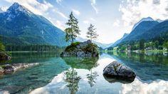 Germany Mountains Lake Scenery Bavaria Alps Lake Hintersee Ramsauer Ache Ramsau…
