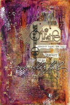 Art journal by Jill Wheeler featuring Scrap FX chipboard: wonderful, string of arrows, Life; stamp: number panel; www.scrapfx.com.au