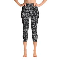 38d180d0d9ffd8 Elios Shirt Faces in White Outlines on Black CMBYN Yoga Capri Leggings  These yoga capri leggings