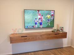 Floating TV unit made from solid messmate timber