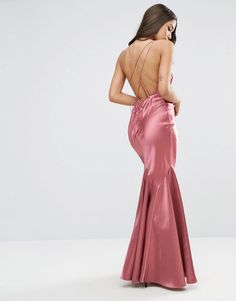 1930s Style Evening Dresses ASOS Satin Fishtail Maxi With Multi Strap Back Dress - Pink $113.00 AT vintagedancer.com