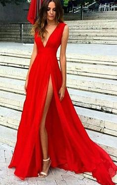 MACloth Deep V Neck Chiffon Long Prom Dress Sexy Formal Evening Gown Gorgeous Wedding Party Dress