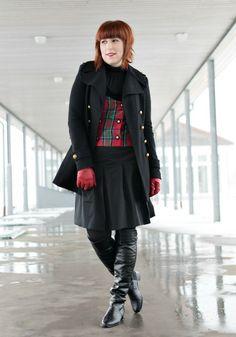 Vintage vest with a-line skirt