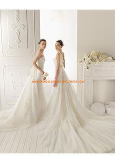 Neue moderne Große Brautkleider aus Tüll und Satin mit Kapelleschleppe