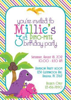Dino-Mite Dinosaur Birthday Party 5x7 Invitation- Girl DIY Printable