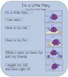 I'm a little fishy song Preschool Poems, Kindergarten Songs, Preschool Music, Kids Poems, Fall Preschool, Preschool Learning, Toddler Preschool, Children Songs, Toddler Classroom