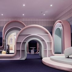Chinese design company X+LIVING has created an out-of-reality leisure center in Hangzhou and we needed to share this with you! Headed by Li Xiang, the team crafted a complete interior design and decoration in pastel colors and surreal shapes. Flat Interior, Cafe Interior, Interior Plants, Interior Doors, Architecture Design, Pastel Designs, Villa, Interior Design Companies, Shop Interiors
