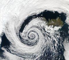 Tiefdruckgebiet, Zyklon, Island, Satellitenaufname