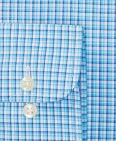 Lauren Ralph Lauren Men's Slim-Fit Stretch Non-Iron Trinidad Blue Plaid Dress Shirt - Trinidad Blue/blue 18 36/37