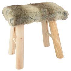 EUR 13,95 - kruk imitatie bont hout 38x28x38cm