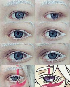 Dgrayman Allen Walker eyes and eyebrows Anime Eye Makeup, Anime Cosplay Makeup, Anime Eyes, Costume Makeup, Eyebrow Makeup, Cosplay Makeup Tutorial, Cosplay Diy, Cosplay Costumes, Make Up Art