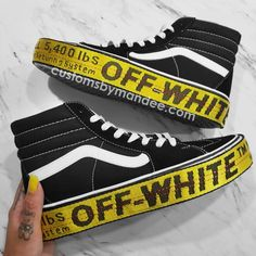 Plattform off-white inspiriert Womens Custom Vans - Shoes - Vans Sneakers, Tenis Vans, Sneakers Mode, Sneakers Fashion, High Top Sneakers, Tomboy Fashion, Vans Fashion, Girl Fashion, Nike Converse