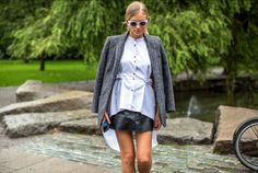 Men's Jacket, Striped Shirt and Leather Skirt - Street Style  Stockholm Fashion Week - Harpers Bazaar - Picture Diego Zuko
