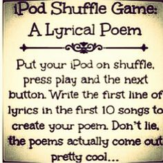 "I just tried this, and it's actually really fun. and funny. It's like ""Telephone"" with song lyrics. Mood Songs, Music Mood, Creative Writing Prompts, Writing Tips, Fun Sleepover Ideas, Music Challenge, Things To Do When Bored, You Poem, Song Playlist"