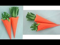 How to make easy paper carrots Fruits And Vegetables Pictures, Vegetable Pictures, How To Make Paper, Crafts To Make, Crafts For Kids, How To Makw, Carrot Craft, Fruit Crafts, Paper Cones