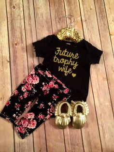My Mom Is My Stylist Bodysuit Black Gold Baby Girl Clothes Baby