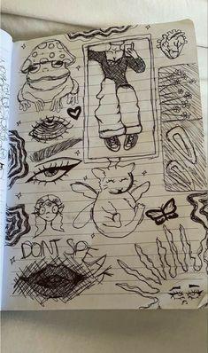 Indie Drawings, Sketchbook Drawings, Art Drawings Sketches Simple, Cool Drawings, Aesthetic Drawings, Sketch Drawing, Sketching, Arte Grunge, Grunge Art