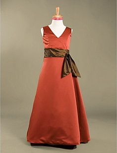 A-line+V-neck+Floor-length+Satin+Junior+Bridesmaid+Dress++–+USD+$+69.99