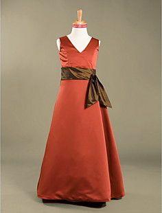 A-line+V-neck+Floor-length+Satin+Junior+Bridesmaid+Dress++–+USD+$+69.99