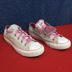 CONVERSE ALL STAR Double tongue AS pink plaid . 6 Minimal wear.. No noticeablee issues Converse Shoes