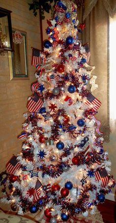 Patriotic Christmas Tree | Christmas tree, Holidays and Pine cone