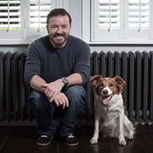 Ricky Gervais with rescued dog, Barney. Read the full story about WSPA's Collars Not Cruelty campaign: http://www.wspa.ca/latestnews/2012/Collars-not-cruelty-in-the-fight-against-rabies.aspx?utm_source=pinterest_medium=link_campaign=collarsnotcruelty