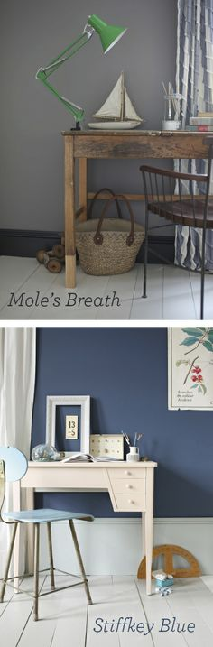 Farrow and breath,paint colour,grey paint by antigua sea Blue Wall Colors, Room Colors, Paint Colors, Colours, Farrow And Ball Paint, Farrow Ball, Farrow And Ball Living Room, Stiffkey Blue, Grey Paint