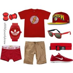 Flash by ohhhifyouonlyknew on Polyvore featuring NIKE, adidas Originals, Ray-Ban, Hollister Co., Adax, my style, flash, my creations, awesome and marvel