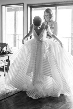 putting the wedding dress on #stripedweddinggown