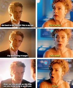Doctor Who. Twelve and River. All Doctor Who, Doctor Who Funny, Twelfth Doctor, Doctor Who Quotes, Eleventh Doctor, Doctor Stuff, Alex Kingston, Amy Pond, Don't Blink