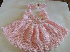 Crochet Dress and Hairband Set by woolhousecasalana on Etsy, £20.00