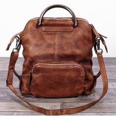 41518649af Handmade Women s Fashion Full Grain Leather Handbag Messenger School  Backpack in Brown WF57 - LISABAG